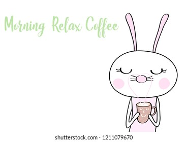 cute rabbit with coffee and qoute cartoon vector eps.10