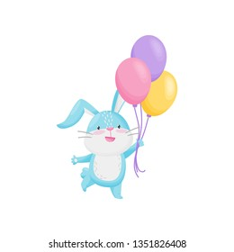 Cute rabbit with color balloons on white background.