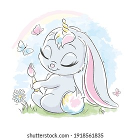 Cute rabbit. A cute rabbit dreams of becoming a unicorn. Fashion illustration drawing in modern style