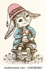 Cute rabbit dressed Turkish peso, harem pants and vest, sits on a low bench and holds a cup of coffee in his paw, color detailed illustration