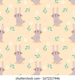 Cute rabbit and easter eggs seamless pattern. Lovely bunny on easter background.