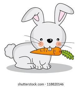 Cute rabbit eating a carrot