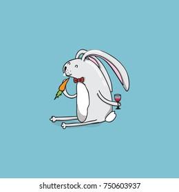 Cute rabbit eats carrot