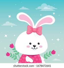 cute rabbit female with flowers decoration vector illustration design