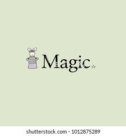 Cute rabbit with a flower crown coming out of the magician hat next to the word magic with stars vector illustration on a pale green background.
