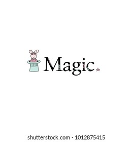 Cute rabbit with a flower crown coming out of the magician hat next to the word magic with stars vector illustration on a white background.