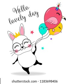 Custom Made T Shirt Happy Birthday Cute Bunny Rabbit Balloons Floating Birds