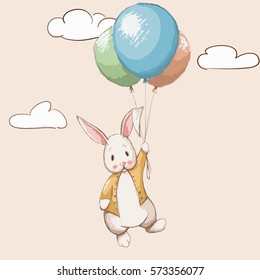 Cute rabbit flying with balloons to the sky.watercolor childish vector illustration.