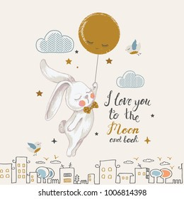 Cute rabbit flying to the moon.cartoon hand drawn vector illustration. Can be used for baby t-shirt print, fashion print design, kids wear, baby shower celebration greeting and invitation card.