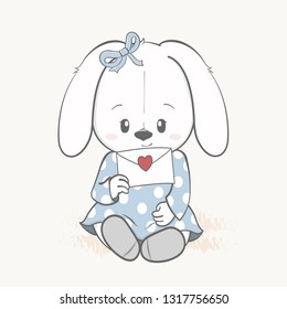 Cute rabbit girl with love letter cartoon hand drawn vecter illustration. Use for Happy birthday invitation card, T-shirt print, baby shower.