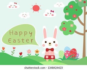 Cute rabbit girl and text happy easter on green grass with colorful easter eggs, tree, blue sky background with smile cloud and sun. Hand drawn illustration vector wallpaper on spring holiday in April