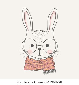 Cute rabbit. Hand drawn portrait bunny with glasses