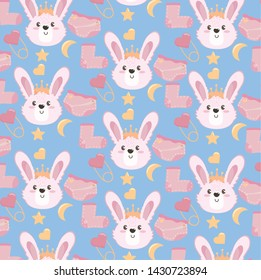 cute rabbit head with sock and diaper background