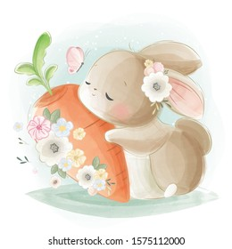 Cute Rabbit Hugging a Big Carrot