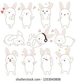 Cute rabbit in many emotion.illistration. EPS10.