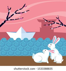 cute rabbit and paper ship on the water over pink background, happy mid autumn festival colorful design, vector illustration