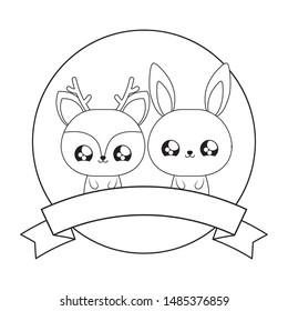 cute rabbit with reindeer baby kawaii style