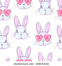 cute rabbit sketch vector illustration seamless, children design print, hand drawn bunny pattern