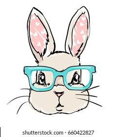 cute rabbit sketch vector illustration, children print on t-shirt, hand drawn bunny with glasses