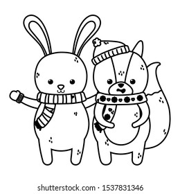 cute rabbit and squirrel with scarf and mittens merry christmas vector illustration thick line