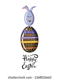 Cute rabbit in style kawaii standing on the top of chokolate egg  with written  easter lettering phrase. Happy  Easter greeting card, poster with fun cartoon animal isolated on white. Flat vector