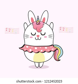 cute rabbit unicorn dancing with pink background,sweet cartoon