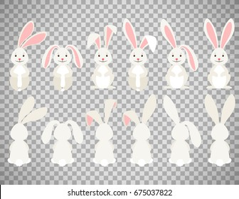 Cute rabbit vector illustration. Easter cartoon bunny isolated on transparent background