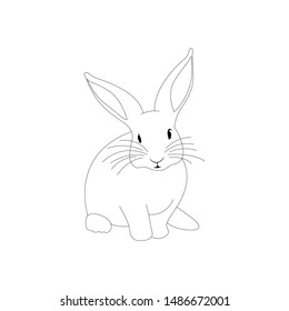 Cute Rabbit vector illustration outline. Coloring book with animal. black and white. white background. ready for print.