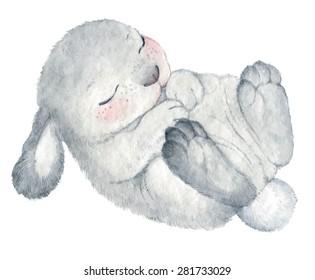 cute rabbit vector watercolor hand drawing sketch Illustration
