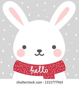 Cute rabbit winter theme card, easter bunny face background, vector illustration