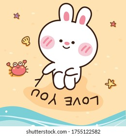 Cute rabbit writing love you on sand hand drawn.Summer concept.Beach,sea,starfish,crab doodle.Cartoon character design.Animal.Kawaii.Vector.Illustration.