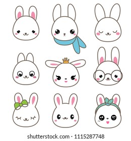 Cute rabbits. Bunny faces in kawaii style. Vector icons set.