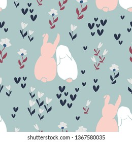 Cute rabbits and flowers seamless pattern. Spring and easter theme seamless background for nursery, baby and kids products, fabric, stationery, textile
