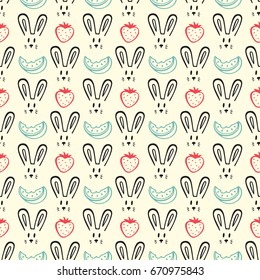 Cute Rabbits and Fruits Seamless pattern. Hand Drawn Doodle  Bunnies, Watermelon, Strawberry. Animal Background for kids. Baby Wallpaper