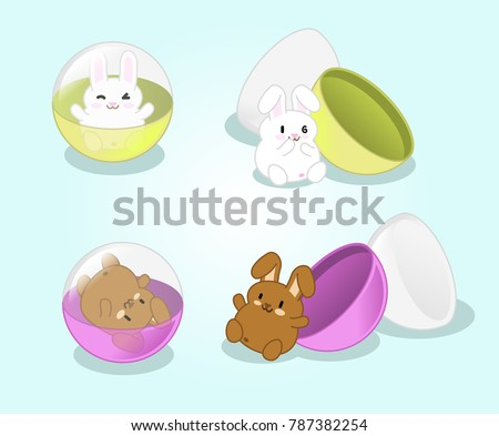 Cute rabbits in gashapon capsules closed and open (set of 4 kawaii illustrations)