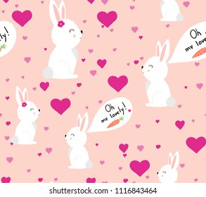 cute rabbits in love seamless pattern. vector illustration