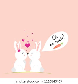 cute rabbits in love. vector illustration