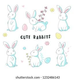 Cute rabbits set. Hand drawn. Vector illustration.