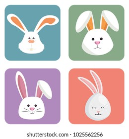 cute rabbits set heads icons