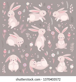 Cute rabbits sleeping, runnung, sitting. Lovely Easter characters. Vector illustration.