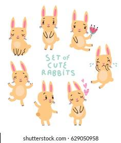 Cute rabbits Vector set