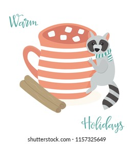 Cute Raccon with cup of cacao. Christmas greeting, season wishes