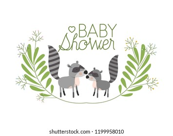 cute raccons couple with wreath baby shower card