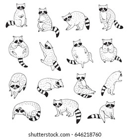 Cute raccoon animal doodle hand drawn vector illustrations set