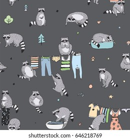 Cute raccoon animal doodle hand drawn vector seamless background pattern