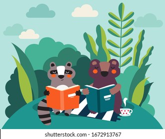 Cute raccoon and bear reading books in the park. Summer landscape background