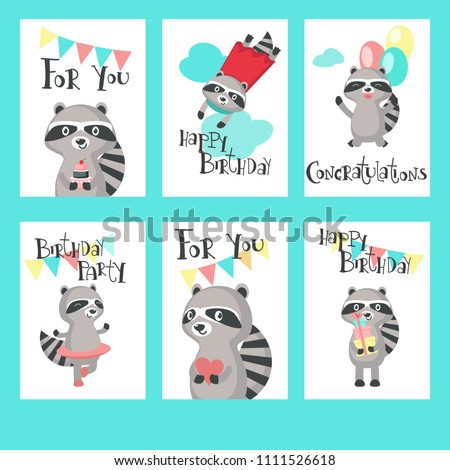 Cute Raccoon Birthday Cards Happy Birthday Stock Vector Royalty