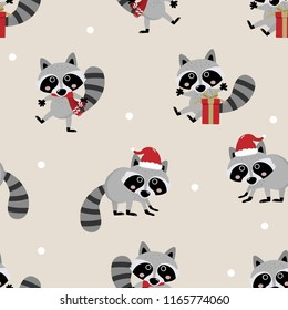 cute raccoon in Christmas seamless pattern. wildlife animal cartoon character vector and background.