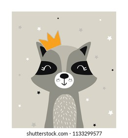 Cute raccoon in crown vector isolated illustration.
