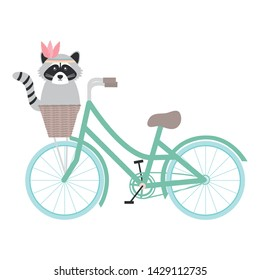cute raccoon with feathers hat in bicycle
